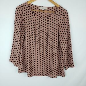 Loft pink and black polka dot blouse